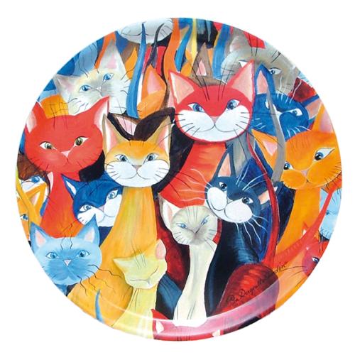 Mångfald bricka med många katter