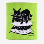 Disktrasa i grönt med söt katt på kuddar.