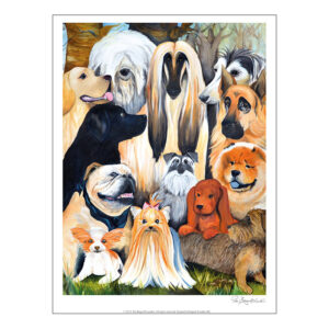 Konsttrycket Hundar efter målning av Pia Bergvall Lundén