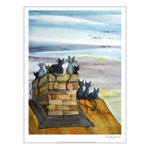 Konsttrycket Katter på taket efter målning av Pia Bergvall Lundén
