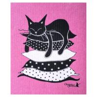 Disktrasa i rosa med söt katt på kuddar.