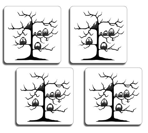 Glasunderlägg med ugglor i träd i 4-pack