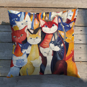 Pillow cover with a diversity of cats
