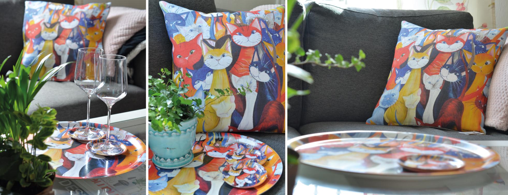 Runda brickor, glasunderlägg och kuddar med katter i mångfald.
