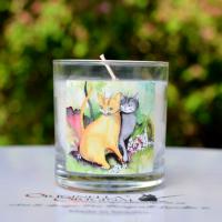 Doftljus med motiv av Förälskade katter.