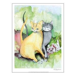 Konsttryck efter Pia bergvall Lundéns målning Förälskade katter