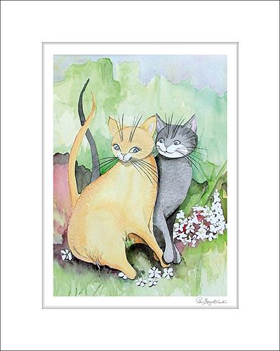 Konsttryck med söta förälskade katter.