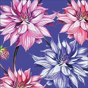 Vackert illustrerat blomsterkort med Dahlior