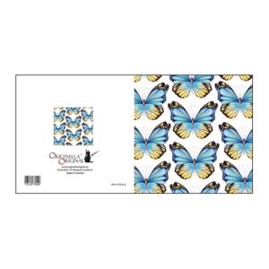 Vackert illustrerat kort med blå fjärilar