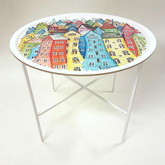 Brickbord med den vackra staden