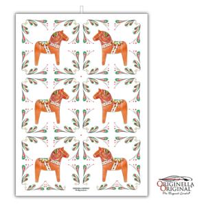 LInnehandduk med mönster av dalahästar