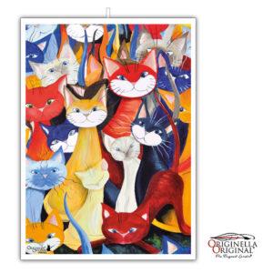 Kökshandduk i linne med underbara katter i mångfald