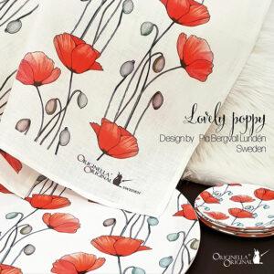 Lovely Poppy linnehandduk rund bricka och glasunderlägg