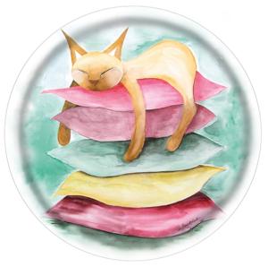 Rund bricka med vacker katt, Stillhet