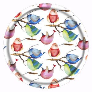 Vacker bricka med fåglar