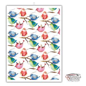 Kökshandduk i linne med vackra fåglar