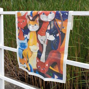 LInnehandduk med Mångfald av katter
