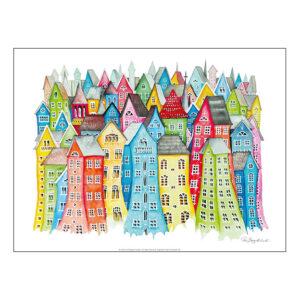 Konsttryck Min stad efter målning av Pia Bergvall Lundén©