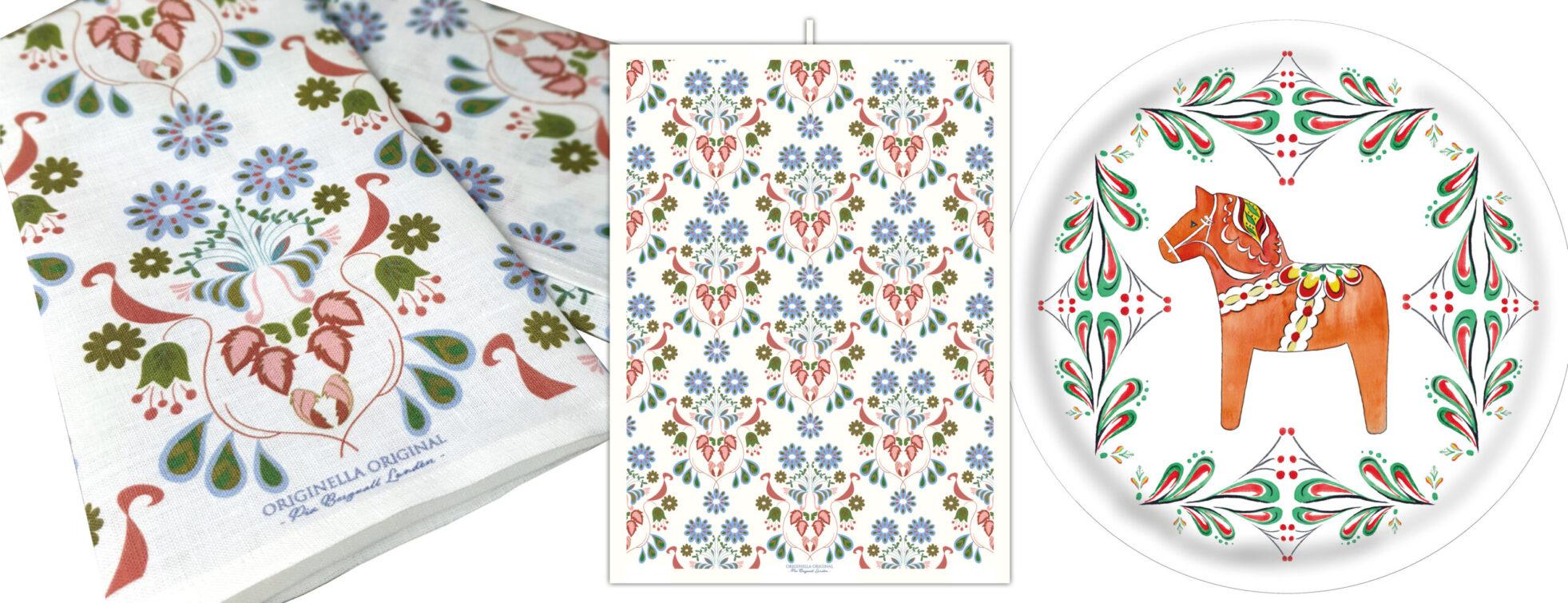 svensk design linnehanddukar och brickor