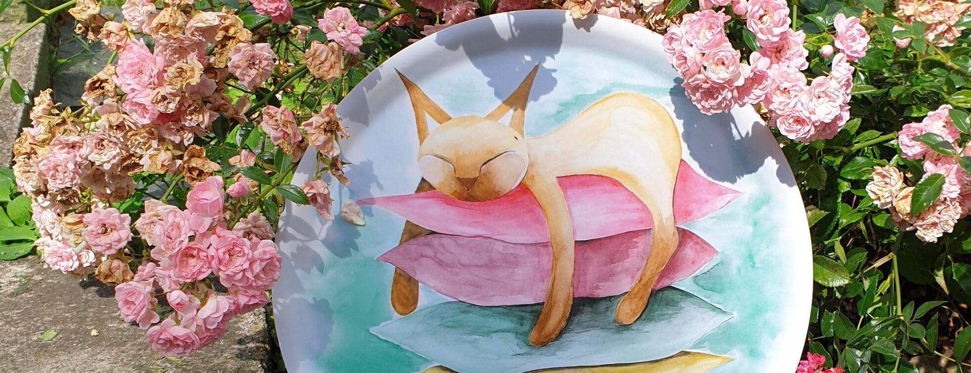 kattbricka i vårens färger