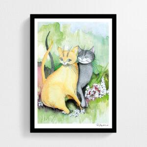 Konsttryck kära katter