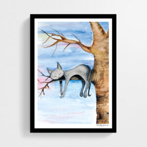 Konsttryck Katt i träd