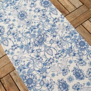 Löpare i blå vacker william morris stil