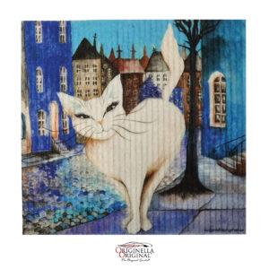 Disktrasa med vit katt