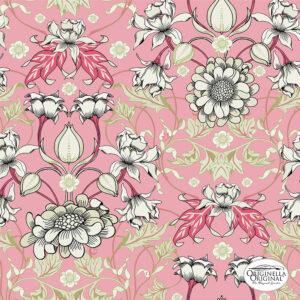 Metervara i linne Secret Garden rosa